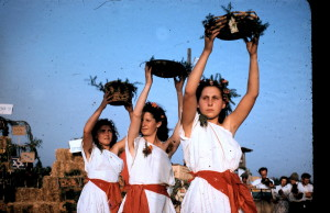 Dancing girls at the first fruits in 1951 in Kibbutz Givat Haim, Israel, c. 1951