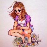 A curly-haired girl squatting in a field of flowers