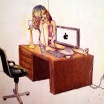 A girl sitting on a desk, with a lamp and computer
