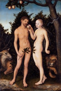 Adam and Eve in paradise (The Fall); painted by Lucas Cranach the Elder, 1533