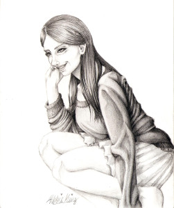 A girl, smiling, in thought